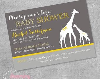 Mama and Baby Giraffe Shower Invitation