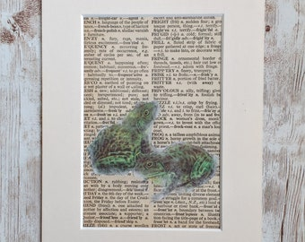 Image Transfer Frogs on  Dictionary Page, Mixed Media