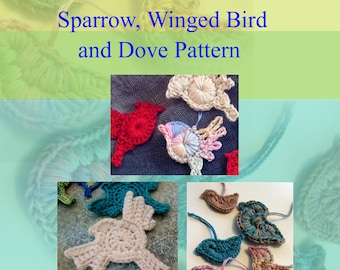 crochet Bird PATTERNs - Tiny Bird Appliques with New Designs- Dove, Cardinal, Bluebird - Instant Download