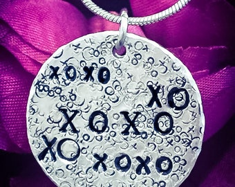 XOXO Hand Stamped Necklace. XOXO Necklace, XOXO Jewellery, Love Necklace, Love Jewellery, Hugs and Kisses, Girlfriend Gift, Wife Gift