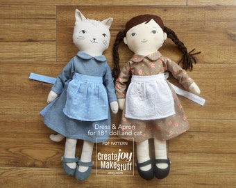 "For 18"" Doll & Cat - Dress and Apron Sewing Pattern - Dress up - Rag doll"
