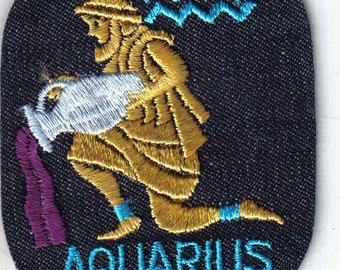 Aquarius Zodiac Vintage 1970's Sewing Patch Applique iron on nostalgic retro