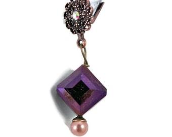 Purple Diamond Copper Leverback Earrings