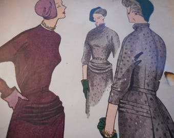 Vintage 1940's Simplicity 3038 Dress Sewing Pattern Size 16 Bust 34
