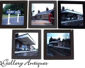 Five Vintage County School Railway Station Norfolk British Rail 7 x 7cm Colour Photographic Slides c.1970's (ref: 7167-12)