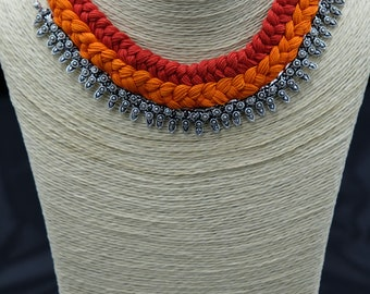 Orange Red and Silver Choker