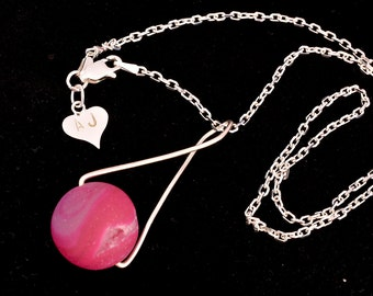 Sterling Silver and Pink Stone Necklace