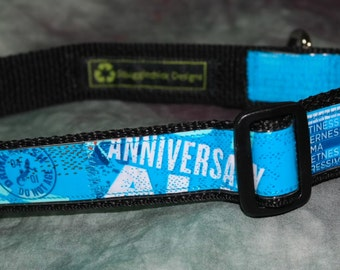 Adjustable Dog Collar from Recycled RoughTail Brewing 1st Anniversary Ale Beer Labels