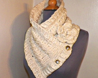 Triangle Infinity Scarf Outlander Cowl Oversized Ivory Celtic Highland Chunky  Neckwarmer Winter  Crochet Knit Womens Winter Scarf