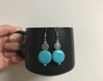 NEW!  Handmade Turquoise and Silver Aztec Dangle Earrings