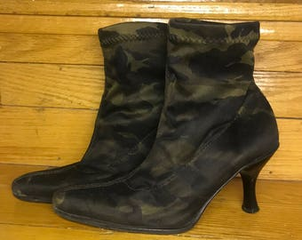 Vintage Camo Fabric Ankle Boots Size 36