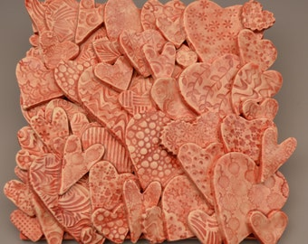 Textured Heart Tile Collage Red- Ceramic / Pottery