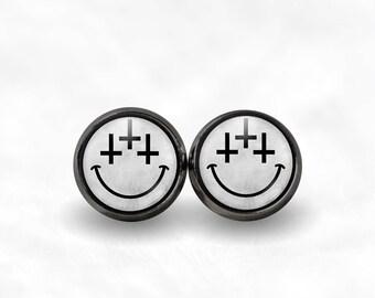 Inverted Cross Smiley Face Stud Earrings   Satanic Jewelry Satanic Earrings 90s Grunge Pastel Goth Jewelry Vaporwave 666 Boho Vaporwave