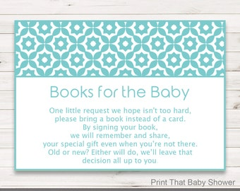 Baby Shower Invitation Insert, Books For Baby, Baby Shower Insert, Printable Invitation Insert, Books For The Baby Card, Turquoise Geometric