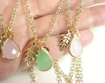 Glass Teardrop Necklace Personalized Necklace Oak Leaf Necklace Bridesmaid Necklace Green, Pink White Pendant White Teardrop Necklace