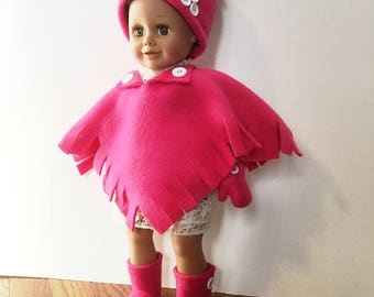 "Fleece Poncho Set of Poncho, Hat, Booties, Mittens for 18 Inch Dolls. Bright Pink Fleece. Button Trim and Fringe on Poncho. 18"" Doll Clothes"