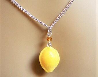 Food Jewelry, Lemon Drop Necklace , Miniature Food, Mini Food Jewelry, Lemon Drop Pendant, Kawaii Jewelry, Kitsch Jewelry, Lemon Drop Charm