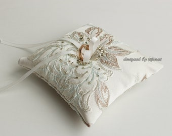 Wedding ring bearer pillow with flower and silver beads-ring bearer, ring cushion, ready to ship