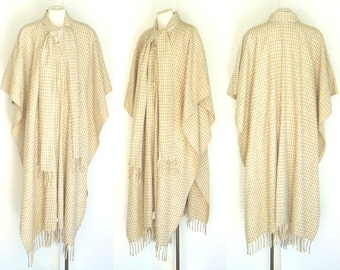 Unisex Mexican Wool Cape Beige w Brown-Gray Checkered Design One Size