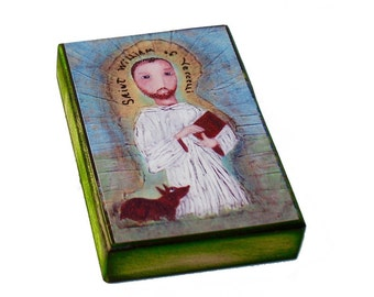 Saint William - ACEO Giclee print mounted on Wood (2.5 x 3.5 inches) Folk Art  by FLOR LARIOS