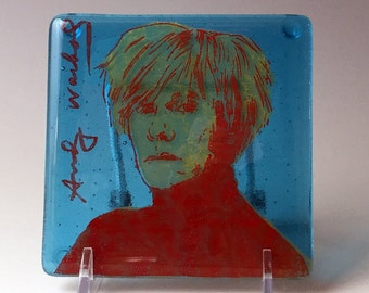 Andy Warhol Fused Glass Coaster, Campbell's Soup, Pop Art