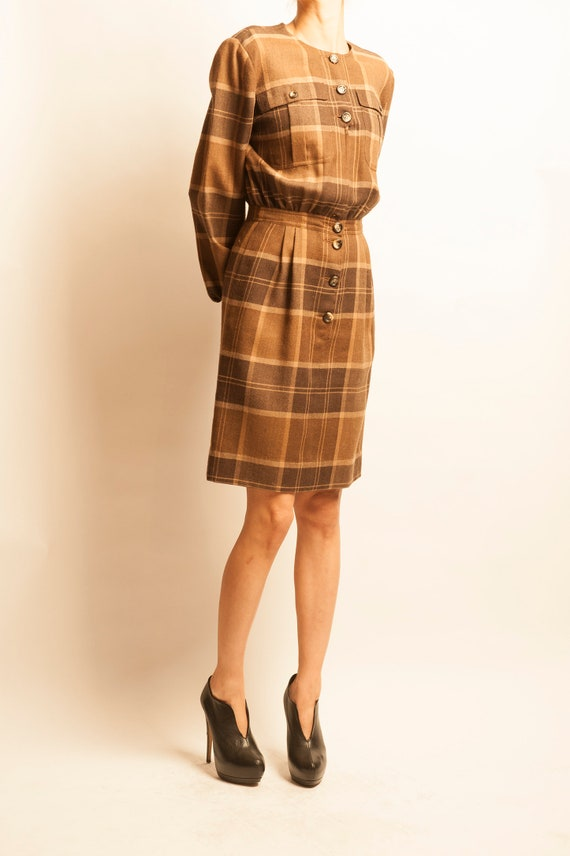 Valentino 1980's checked pattern wool day dress