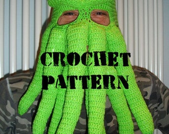 PDF Crochet Pattern -   Cthulhu inspired ski mask - picture tutorial