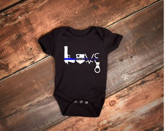 Police Baby Outfit - Thin Blue Line Baby outfit - Thin Blue Line Love - Law Enforcement Gift - Police Baby Outfit -  Police Badge Outfit