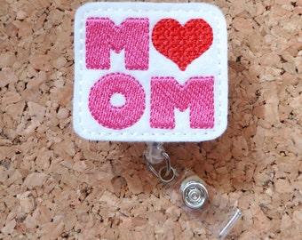 Badge Reels, MOM Badge Reel, FELT Badge Reel, Retractable ID Name Holder, Nurse Badge,  Teacher Gift, 625
