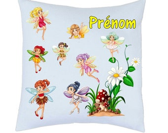 Pillow pattern satin cute fairies personalized name choice ref 79