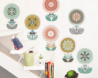 Flowery Wall Decal, wall sticker, kids wall decal sticker, wall vinyl, plants lover, wall decor, home decor, Peel & Stick Repositionable