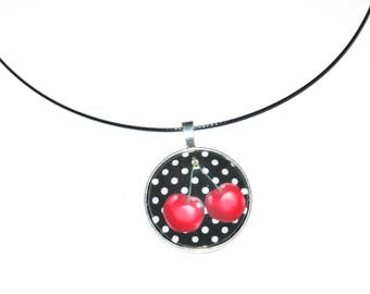pendant necklace cherry and polka dots