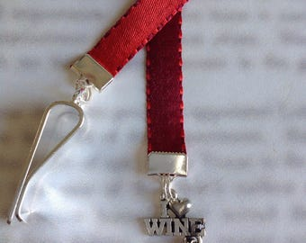 Wine Lovers Bookmark / Wine Bottle Bookmark / I Love Wine Bookmark / Fun Bookmark- Attach clip to book cover. Never lose your bookmark!
