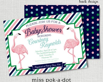 Flamingo Baby Shower Invitation, Printable, Preppy Shower Invite, Pink, Navy, Aqua Green, Sprinkle, Sip and See, Brunch, Pool, Tropical