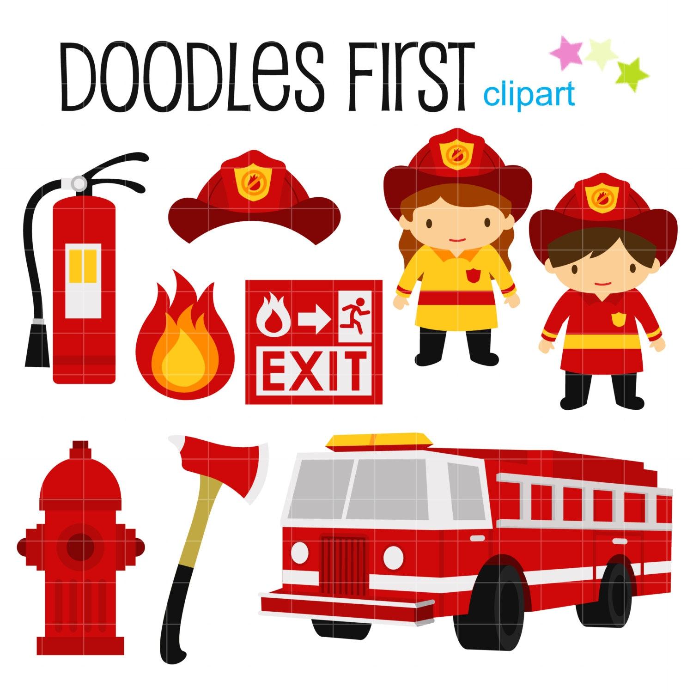 little firefighters digital clip art for scrapbooking card rh etsy com Firefighter Silhouette Clip Art Firefighter Clip Art Black and White