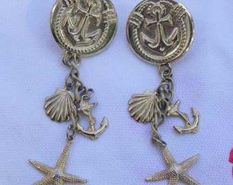 Nautical Goldtone Anchor Earrings