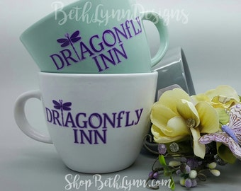 Dragonfly Inn Inspired Big Mug | Vinyl Decal | logo on BOTH sides | Gilmore Girls | Dragonfly Inn | Lorelai Gilmore | 16 oz Big Mug