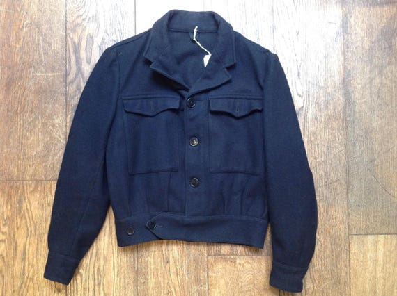 "Vintage midnight blue black wool blouson blouse jacket military 43"" chest"