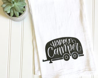 happy camper flour sack tea towel, summer outdoors, camping decor, kitchen decor, gift for newlyweds, sassystitchesbylori, under 15