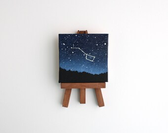 Miniature Big Dipper Night Sky Painting with Easel