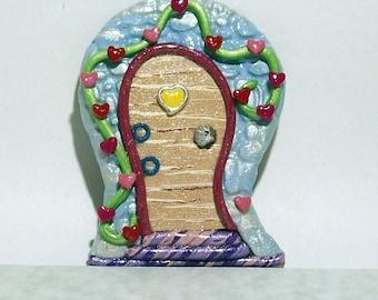 Fairy Door, Pixie Door, Heart Elf Door Uniquely Handmade from Polymer Clay