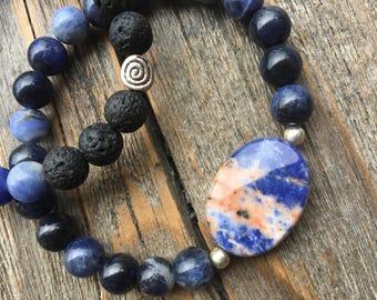 Sodalite and Lava Stone Diffuser Crystal Mala Bracelet Set- handmade high quality stones