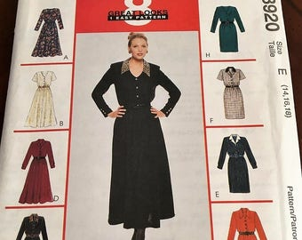 McCalls Pattern #8920 Misses Dress in two lengths, with or without collar with variations   Size 14, 16, 18