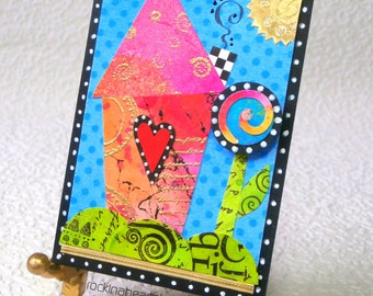 ACEO - original collage art card - home sweet home wonky house - Good Morning Sunshine