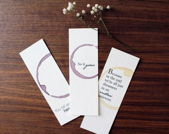 Bookmark Set - Pick Your Own and Save - Reader anniversary gift, Birthday gift for reader, Unique Bookmarks, Quote Bookmark, Book Club Gift