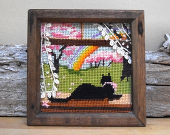 Vintage Black Cat Spring Flowers Needlepoint in a Wooden Frame Kitten Thread Art Rainbow April Showers May Flowers Decor