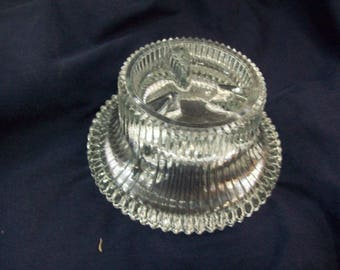Vintage Pressed Glass Taper Candle Holder, Ring Holder, FREE SHIPPING