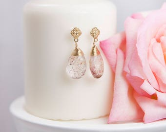 Lepidocrosite Post Earrings, Gemstone Earrings, Wire-wrapped Earrings, Elegant & Feminine, Chic