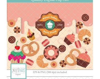 Cake clipart ,Doughnut clipart, Dessert clipart, vector graphics, cupcake clipart, bagel digital image