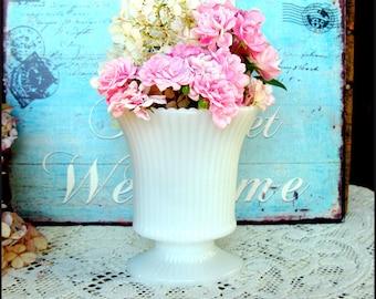Vintage Milk Glass Vase / Shabby Chic Home Decor / Milk Glass Wedding